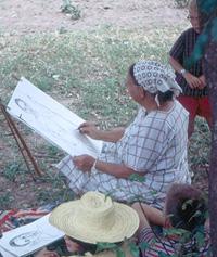 Elsa malend in Afrika, um 1965