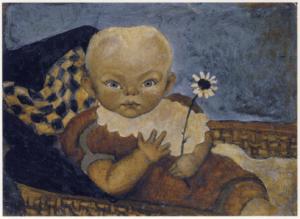 Kleinkind im Korbwagen mit Kalesche, um 1925